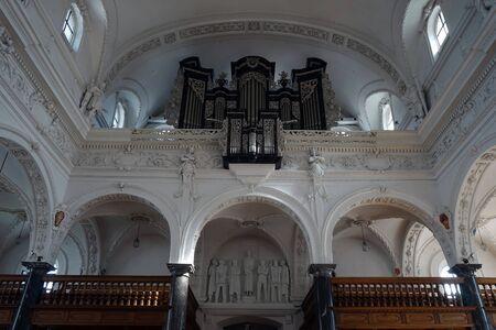 parish: STANS, SWITZERLAND - CIRCA AUGUST 2015 Balcony with organ in parish church St. Peter und Paul Editorial