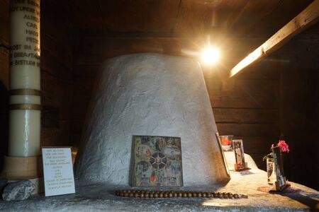 klaus: FLUELI-RANFT, SWITZERLAND - CIRCA AUGUST 2015 Altar in Brother Klaus Museum.Home of hermit and ascetic Niklaus von Flue, also known as Brother Klaus. Editorial