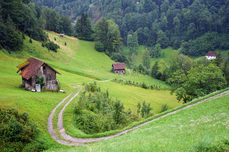 sheds: Track and sheds in mountain area of Switzerland