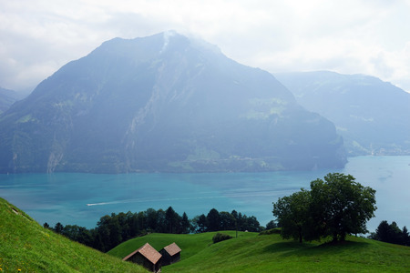 sheds: Sheds on the slope of hill near Lucerne lake in Switzerland