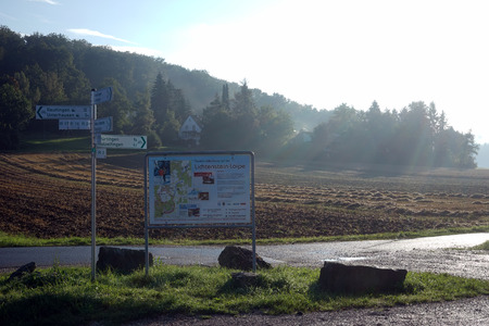 non cultivated land: Banners and signs of Albsteig hiking trail in Swabia, Germany Stock Photo