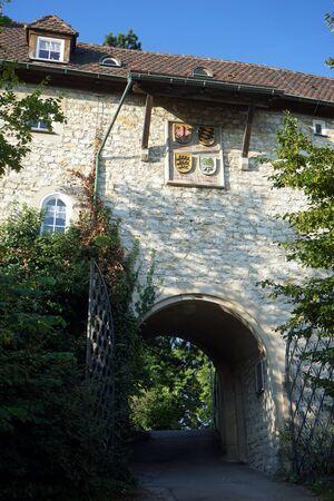 teck: OWEN, GERMANY - CIRCA AUGUST 2015 Entrance of Burg Teck castle Editorial
