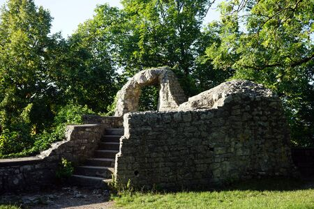 teck: OWEN, GERMANY - Ruins of tower on the corner of Burg Teck castle Stock Photo