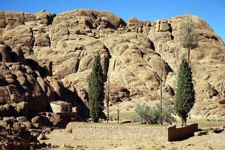 monte sinai: Peque�o oasis en el monte Sina� en Egipto
