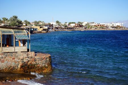 dahab: Coastline in the center of Dahab in Egypt
