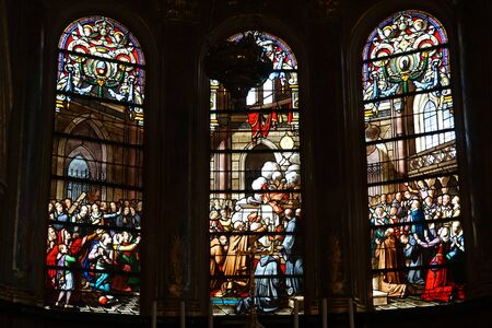 on the dole: DOLE, FRANCE - CIRCA JULY 2015 Stained glass inside Collegiate Church of Our Lady