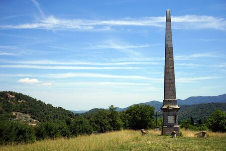 obelisk stone: Obelisk on the hill near Tourves, France