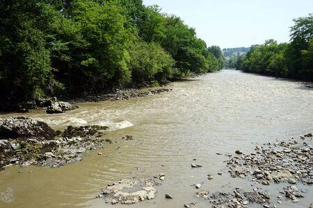 gave: River Gave de Pau near Saint-Pe-de-Bigorre, France