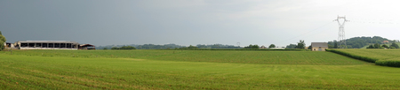 monoculture: Panorama of green field and barn in France