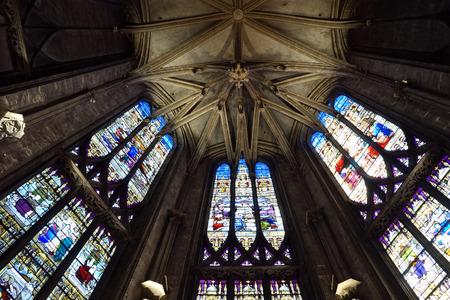 crist: BOURG EN BRESSE, FRANCE - CIRCA JULY 2015 Wall of Cathedrale Notre-Dame-de-lAnnonciation de Bourg-en-Bresse