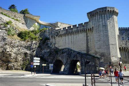 palais: Tower and wall of Pope palace in Avignon, France