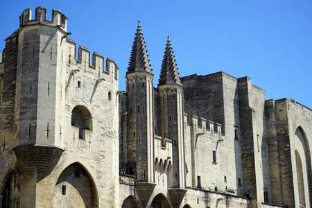 pope: Wall of Pope palace in Avignon, France Editorial