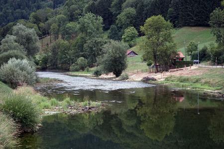 River Doubs near Soubey in Switzerland Stock Photo
