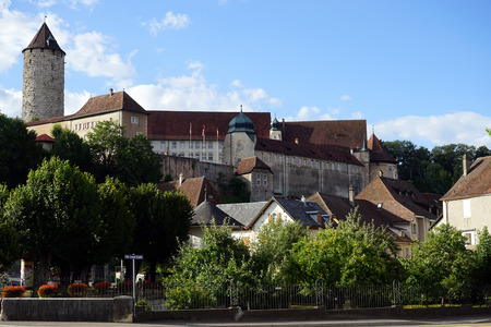 apartment tower old town: PORRENTRUY, SWITZERLAND - CIRCA JULY 2015 Old town with castle