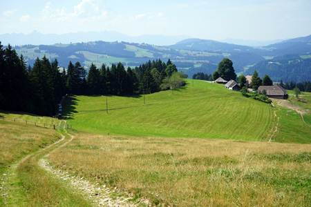 rural area: Track and hill in rural area of Switzerland