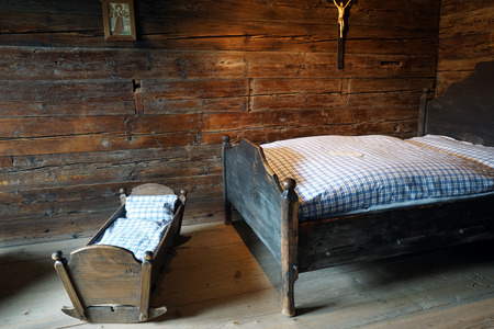 ascetic: FLUELI-RANFT, SWITZERLAND - CIRCA AUGUST 2015 Bedroomr in Brother Klaus Museum.Home of hermit and ascetic Niklaus von Flue, also known as Brother Klaus.