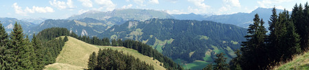 non cultivated land: Panorama of green hills in valley in Swiss Alps, Switzerland