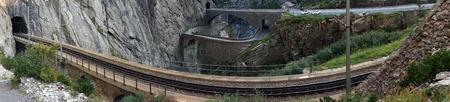 railway: Railway near Devils bridge in Andermatt, Switzerland Stock Photo