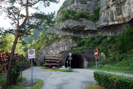 tunel: Tunel and road near Lucerne lake in Isleten Schiff