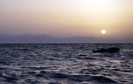 ocean and sea: Sunrise and Red sea in Egypt Stock Photo