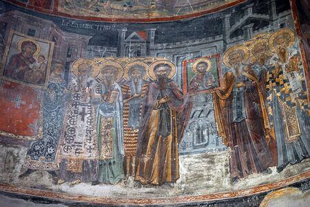 saint nicolas: NOVI SAD, SERBIA - CIRCA MAY 2016 Frescos on the wall of Saint Nicolas church in Novo Hopovo monastery Editorial