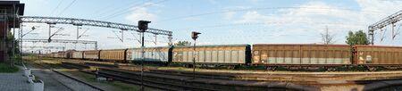 goods train: LAPOVO, SERBIA - CIRCA MAY 2016 Cargo train near the station Editorial