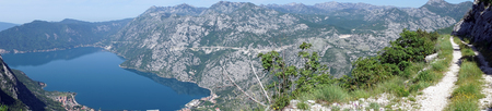 rea: Track in the mountain rea near Kotor bay in Montenegro Stock Photo