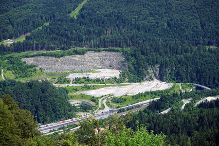 tunel: tunel and roads in mountain area of Austria