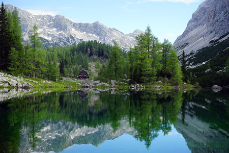 Mountain lake in Triglav national park in Slovenia Stock Photo