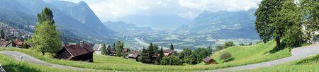 Road on the slope and Rein valley in Lichtenstein