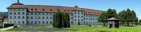 EINSIEDELN, SWITZERLAND - CIRCA JULY 2016 Garden in the inner yard pf Benedictin monastery of Virgyn Mary