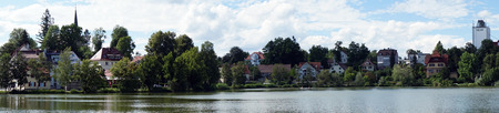 BAD WALDSEE, GERMANY - CIRCA AUGUST 2016 Buildings on the lake