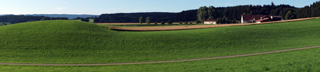 Panorama with road and green hiils in Germany