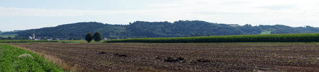 plowed: Panorama of plowed land in germany Stock Photo