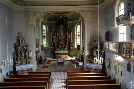 parish: ERSINGEN, GERMANY - CIRCA AUGUST 2016 Inside parish church