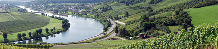 mosel: Mosell valley and vineyards in Luxembourg Stock Photo