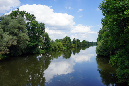 rein: Rein river with trees and reflections in Germany