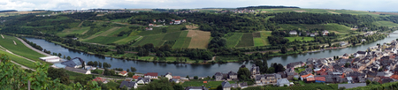 View of Mosell valley on the border Luxembourg and Germany Stock Photo