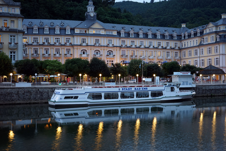 ems: BAD EMS, GERMANY - CIRCA AUGUST 2016 Boat and embankment