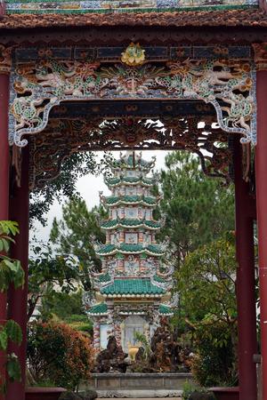 dalat: DALAT, VIETNAM - CIRCA JANUARY 2017 Inner yard in  Linh Son Pagoda