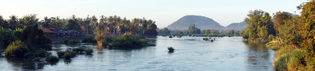 Don Khon and Don Det islands in Siphandon, Laos Stock Photo