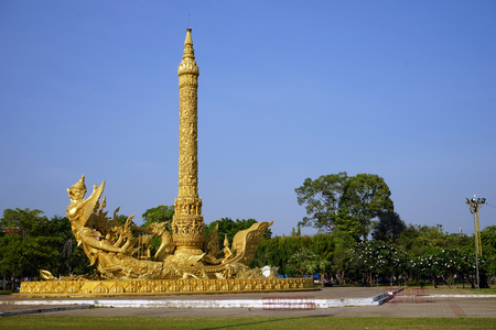 UBON RATCHATHANI, THAILAND - CIRCA FEBRUARY 2017 Golden replica carving candle monument at the main square in central city park