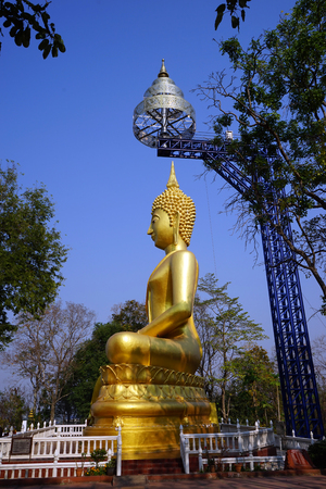 BURIRAM, THAILAND - CIRCA FEBRUARY 2017 Big Golden Buddha in Khao Kradong forest park Editorial