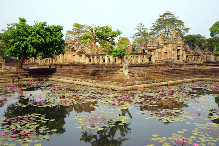 BURIRAM, THAILAND - CIRCA FEBRUARY 2017 Pond with lotuses in Prasat Mueang Tam Stone Sanctuary