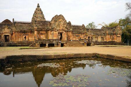 BURIRAM, THAILAND - CIRCA FEBRUARY 2017 Old khmer temple and pond  in Phanom Rung historical park