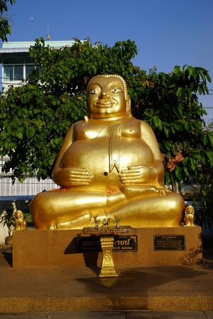 UBON RATCHATHANI, THAILAND - CIRCA FEBRUARY 2017  Fat Golden Buddha in Wat Luang