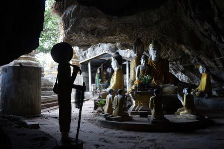 MAWLAMYINE, MYANMAR - CIRCA APRIL 2017 Buddha in Tha Maing Win Kha Yon Gu Hsan Daw Shin Hpa Yar Editorial
