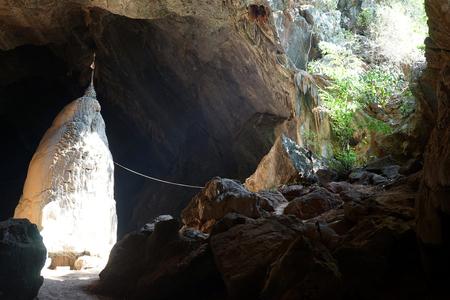 HPA AN, MYANMAR - CIRCA APRIL 2017 Rock in the Saddar Cave Editorial