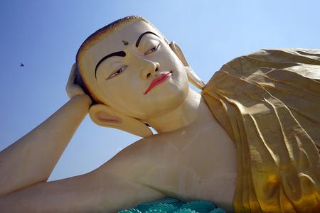 BAGO, MYANMAR - CIRCA APRIL 2017 Mya Tha Lyaung Reclining Buddha