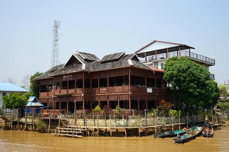 yaw: NYAUNGSHWE, MYANMAR - CIRCA APRIL 2017 Ngwe Zin Yaw Restaurant
